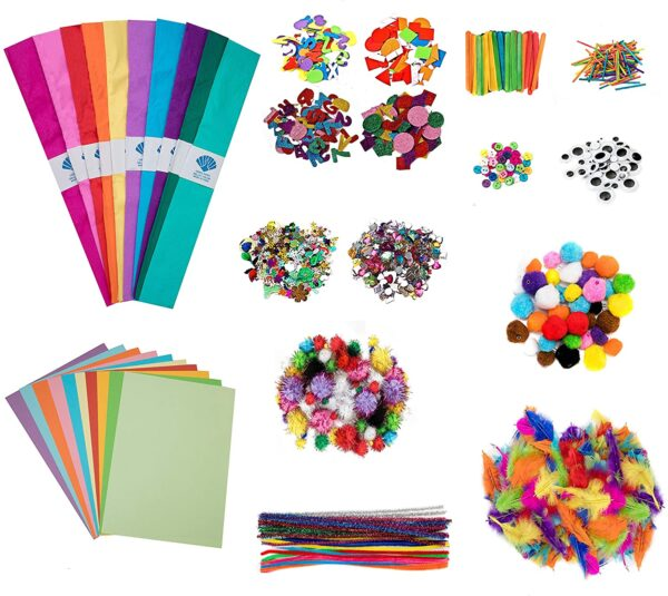 edukit Arts and Craft for kids 1500 Pieces, Including Pipe Cleaners, Pom Poms, Sticky Gems, Googly Eyes, Foam Sheets, Feathers, Tissue and Craft paper, Matchsticks in Various Sizes and Colours