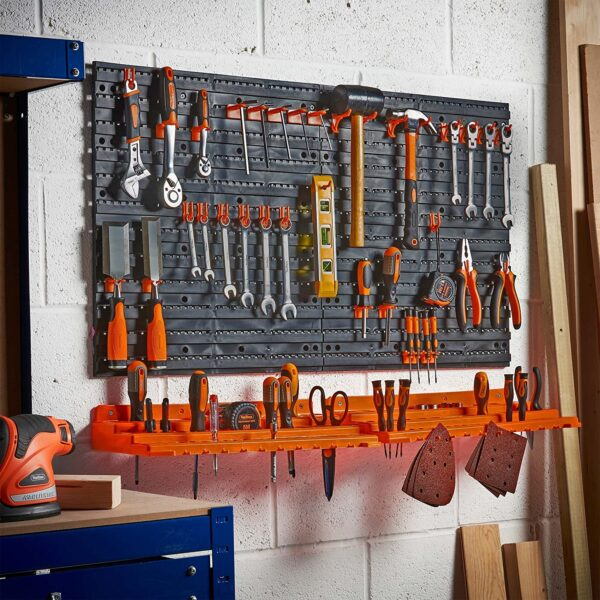 VonHaus Garage Wall Tool Rack Pegboard + Shelf Tool Organiser/Holder – Wall-Mounted/Fixed, Includes 50 Assorted Hooks – Ideal for Home, Shed, Workshop or Garage