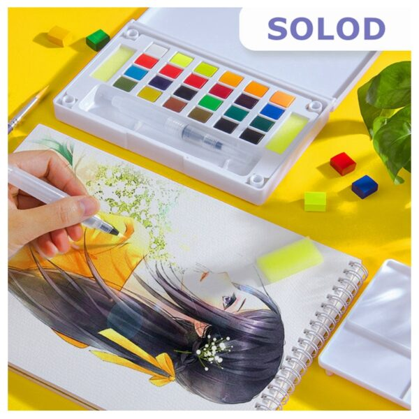 High Quality Solid Pigment Watercolor Paints Set With Water Color Portable Brush Pen For Professional Painting Art Supplies