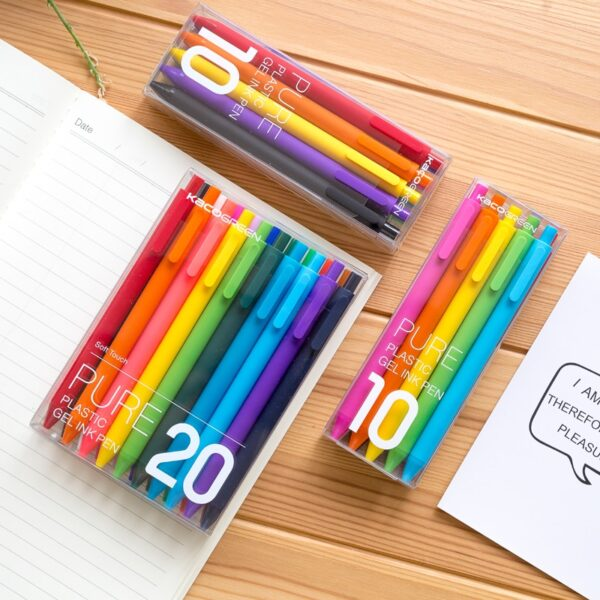 20Pcs/lot KACO PURE Series ABS Body Gel Pens Fashion Candy Color signing Pens for Student Stationery Office School Supplies