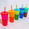 Codream 5Pcs Color Changing Cups 24oz Reusable Summer Cold Drink Iced Coffee Cups Tumbler with Lids and Straws for Adults Kids