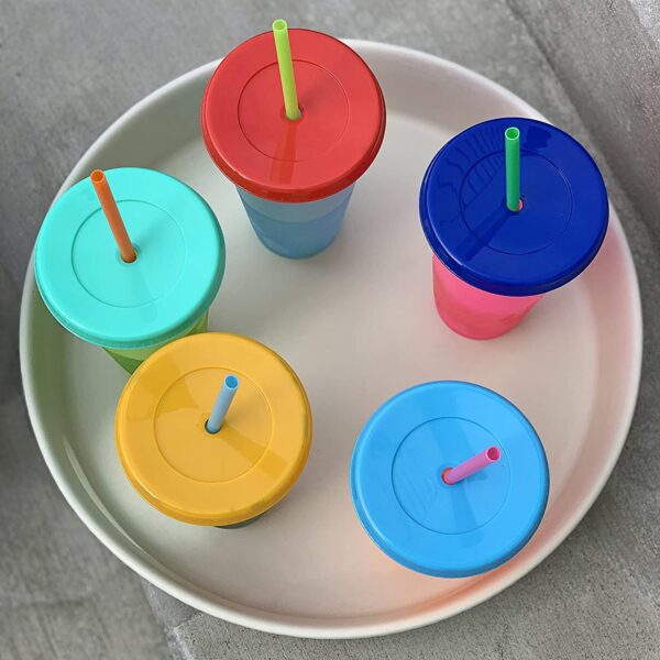 NOGIS Color Changing Cold Drink Cups: 24oz Cold Cups - 5 Reusable Cups, Lids and Straws - Summer Coffee Tumblers - Summer Cups, Set of 5 (Brights)