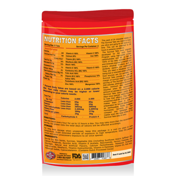 MRE Meal Ready to Eat 8-Day 96 Tabs Emergency Food Survival Food The Survival Tabs Disaster Preparedness Gluten Free and Non-GMO 25 Years Shelf Life Long Term - Mixed Flavor