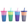 NOGIS Color Changing Cold Drink Cups: 24oz Blank Cold Cups - 4 Reusable Cups, Lids and Straws - Summer Coffee Tumblers - Summer Cups, Set of 4